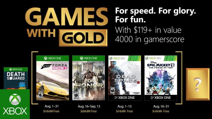 Xbox One: Games with Gold August 2018