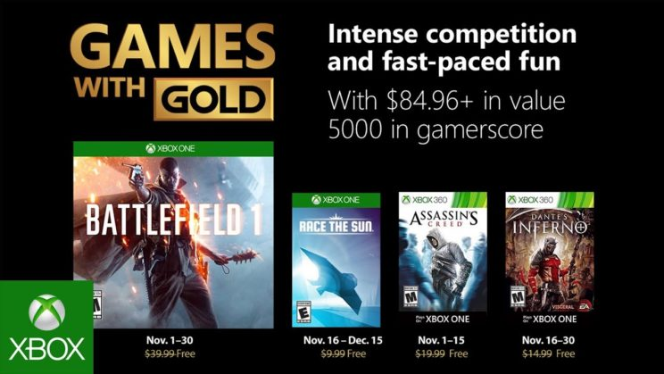 Xbox One: Games with Gold November 2018