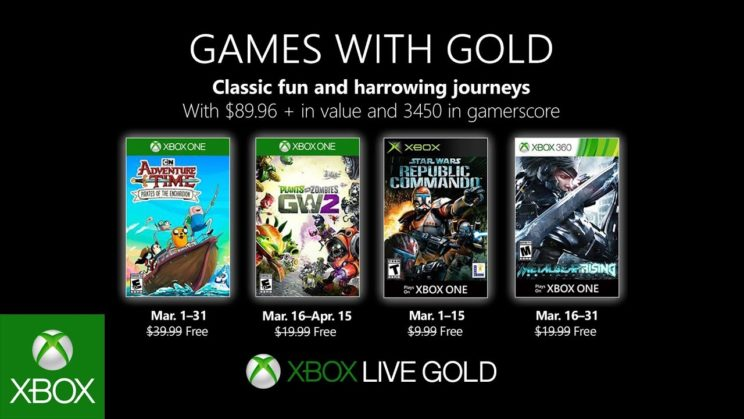 Xbox One: Games with Gold März 2019