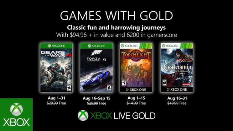 Xbox One: Games with Gold August 2019