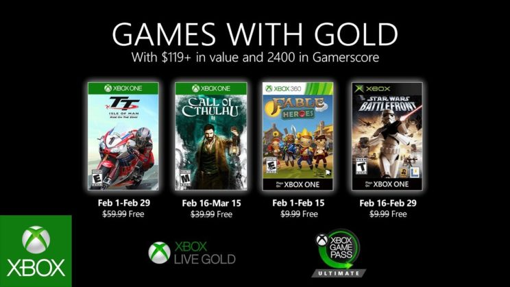 Xbox One: Games with Gold Februar 2020