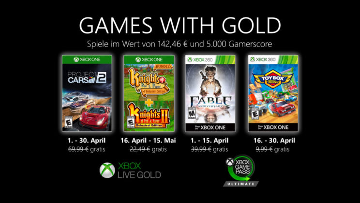Xbox One: Games with Gold April 2020